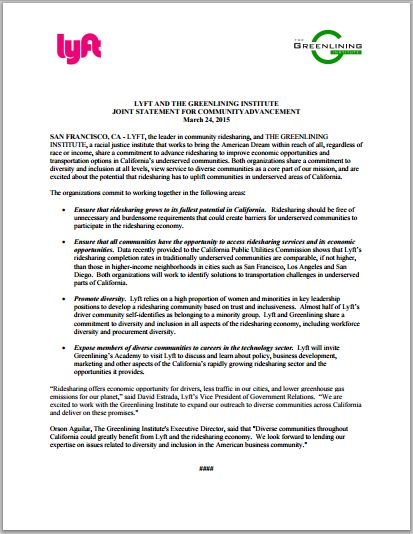 Download: Lyft and Greenlining Joint Statement